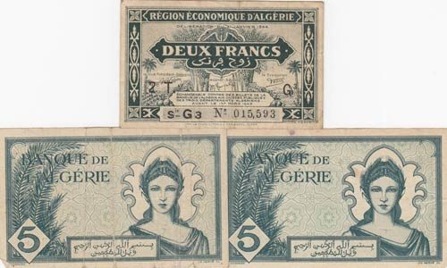 Algeria, 2 francs and 5 Francs ...