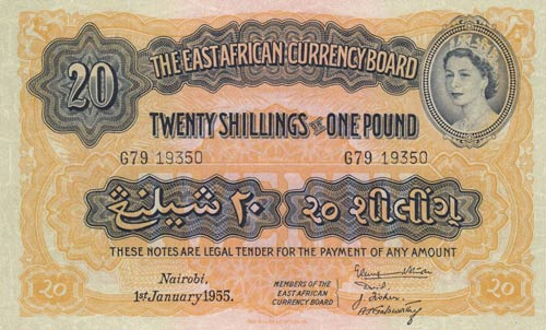 East Africa, 20 Shillings or 1 ...