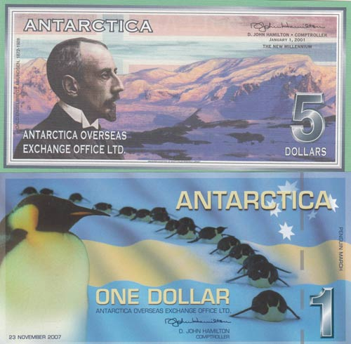 Antarctica, 1 Dollar and 5 ...