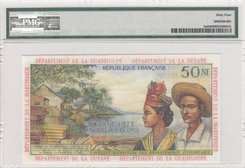 French Antilles, 50 New Francs, ...