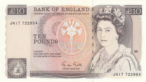 Great Britain, 10 Pounds, 1988, ...
