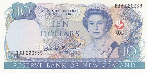 New Zealand, 10 Pounds, 1990, UNC, ...