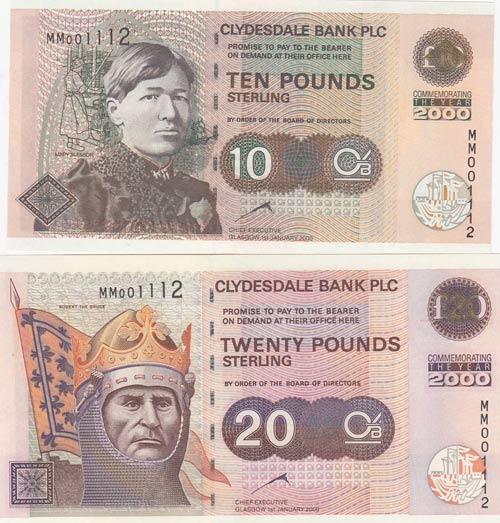 Scotland, 10 and 20 Pounds, 2000, ...